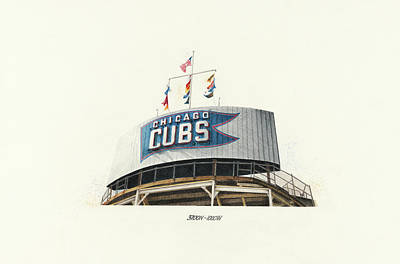 Wrigley Field Drawing - Chicago Cubs Scoreboard by Ken Hank