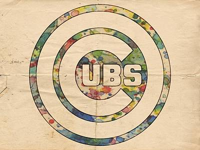 Bat Painting - Chicago Cubs Vintage Logo by Florian Rodarte