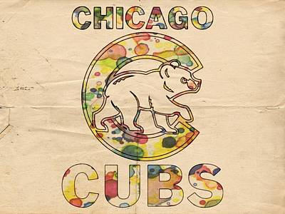 Bat Digital Art - Chicago Cubs Vintage Poster by Florian Rodarte