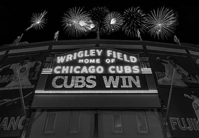 City Scenes Royalty-Free and Rights-Managed Images - Chicago Cubs Win Fireworks Night B W by Steve Gadomski