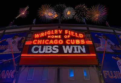 Players Photograph - Chicago Cubs Win Fireworks Night by Steve Gadomski
