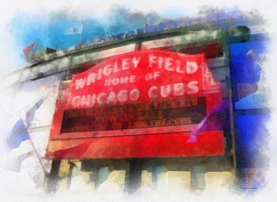 Chicago Cubs Wrigley Field Marquee Photo Art 01 Art Print by Thomas Woolworth