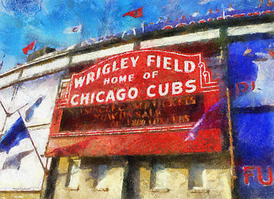 Chicago Cubs Wrigley Field Marquee Photo Art 02 Art Print