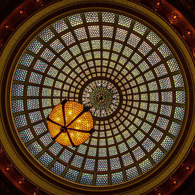 Glasswork Photograph - Chicago Cultural Center Dome by Mike Burgquist