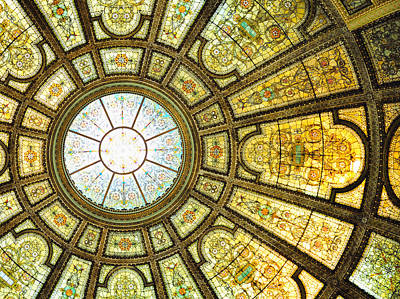 Photograph - Chicago Cultural Center Interior by Songquan Deng