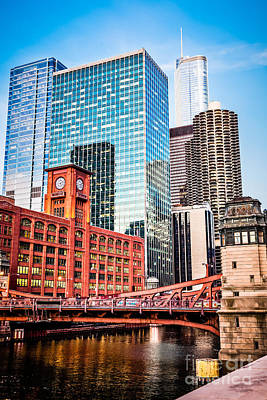 Trump Tower Photograph - Chicago Downtown At Lasalle Street Bridge by Paul Velgos