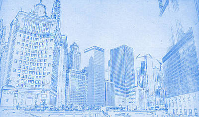 Capture Mixed Media - Chicago Downtown Blueprint by MotionAge Designs
