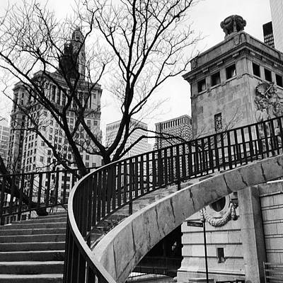Landmarks Photograph - Chicago Staircase Black And White Picture by Paul Velgos