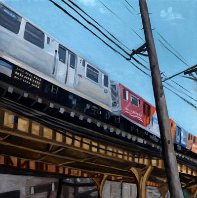 Painting - Chicago El Train Blue Line by Rick Liebenow