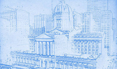 Chicago Skyline Mixed Media - Chicago Federal Court 1961 Blueprint by MotionAge Designs