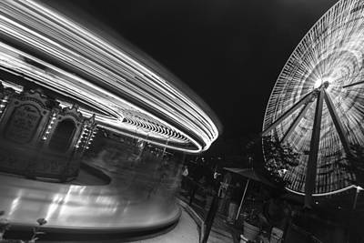 Photograph - Chicago Ferris Wheel And Carousel Black And White by John McGraw