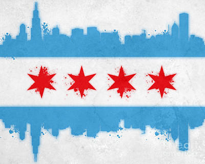 Skyline Painting - Chicago Flag by Mike Maher