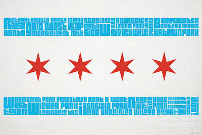 Ink Mixed Media - Chicago Flag Neighborhoods by Mike Maher