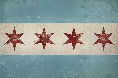 Fades Painting - Chicago Flag by Ryan Fowler