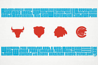 Chicago Flag Sports Teams Art Print by Mike Maher
