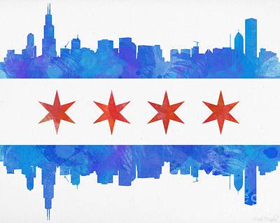 Skylines Paintings - Chicago Flag Watercolor by Mike Maher