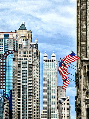 Chicago - Flags Along Michigan Avenue Art Print by Susan Savad