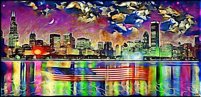 Chicago Floating Flag Art Print