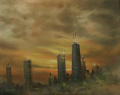 Chicago At Night Painting - Chicago Fog by Tom Shropshire