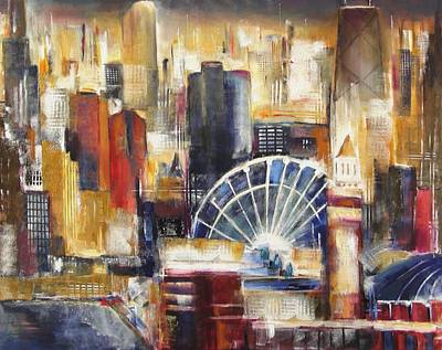 Chicago At Night Painting - Chicago From Navy Pier by Kathleen Patrick