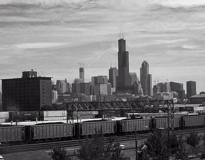 Vintage Buick Rights Managed Images - Chicago from train yard Royalty-Free Image by Christopher Flees