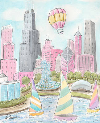 Water Tower Place Painting - Chicago Girl Skyline Cityscape by Debbie Cerone