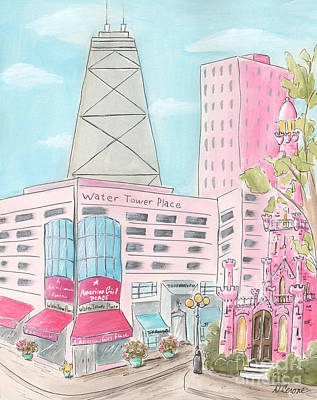 Water Tower Place Painting - Chicago Girl Water Tower Place by Debbie Cerone