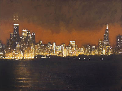 Abstract Art Painting - Chicago Glowing At Night by Joseph Catanzaro