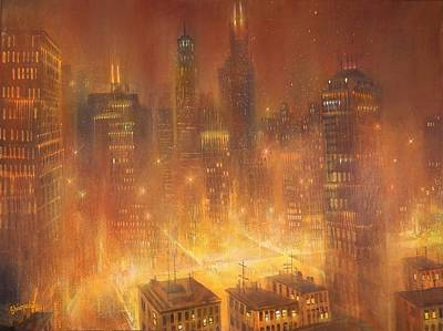 Chicago At Night Painting - Chicago Gold by Tom Shropshire