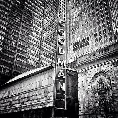 White Photograph - Chicago Goodman Theatre Sign Photo by Paul Velgos
