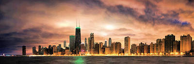 Chicago Skyline Painting - Chicago Gotham City Skyline Panorama by Christopher Arndt