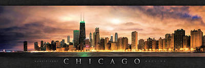 Painting - Chicago Gotham City Skyline Panorama Poster by Christopher Arndt