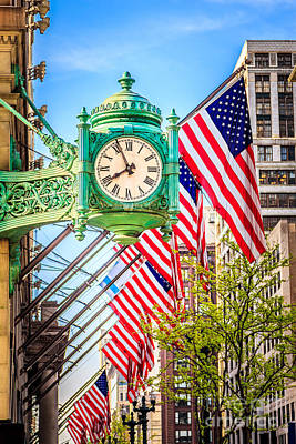 Chicago Great Clock On Macys Building Art Print by Paul Velgos