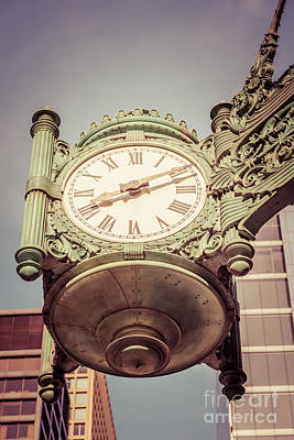 Chicago Great Clock Vintage Photo Art Print by Paul Velgos