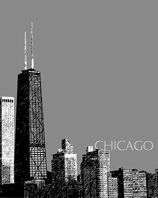 Hancock Building Wall Art - Digital Art - Chicago Hancock Building - Pewter by DB Artist