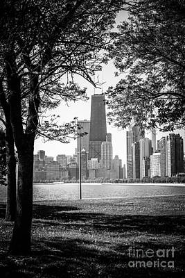 Chicago Hancock Building Through Trees In Black And White Art Print