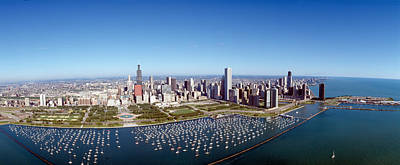 Central Il Photograph - Chicago Harbor, City Skyline, Illinois by Panoramic Images
