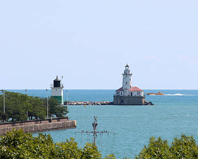 Photograph - Chicago Harbor Lighthouses by George Jones