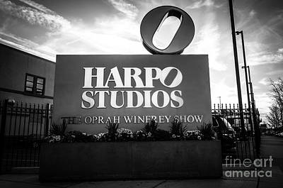 City Scenes Royalty-Free and Rights-Managed Images - Chicago Harpo Studios Sign in Black and White by Paul Velgos