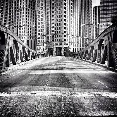 Architecture Wall Art - Photograph - #chicago #hdr #bridge #blackandwhite by Paul Velgos