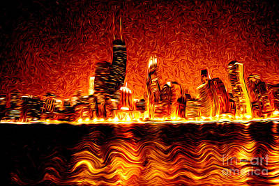 Hancock Building Digital Art - Chicago Hell Digital Painting by Paul Velgos