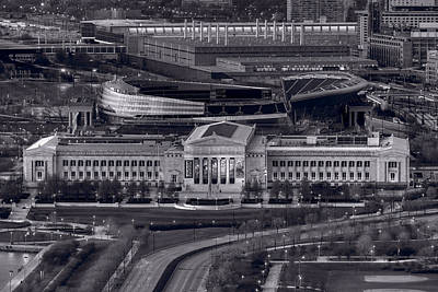 Soldier Field Photograph - Chicago Icons Bw by Steve Gadomski