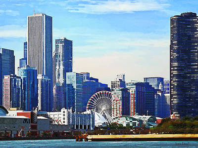 Chicago Il - Chicago Skyline And Navy Pier Art Print