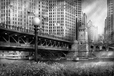 Chicago Il - Dusable Bridge Built In 1920 - Bw Art Print by Mike Savad