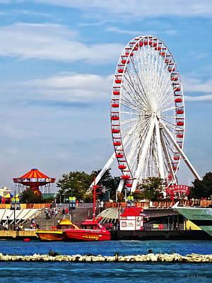 Ferris Wheel Photograph - Chicago Il - Ferris Wheel At Navy Pier by Susan Savad
