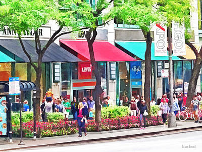 Awning Photograph - Chicago Il - Shopping Along Michigan Avenue by Susan Savad
