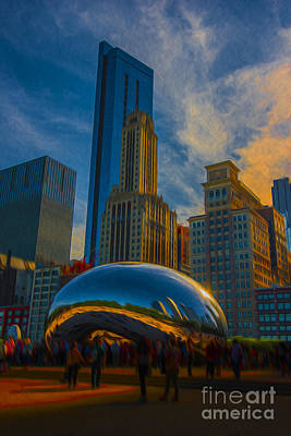 Chicago Illinois Bean Digital Oil Paint Art Print