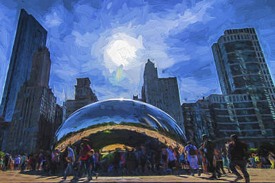 Photograph - Chicago Illinois Bean Skyline Painted Digitally  by David Haskett