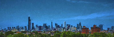 Photograph - Chicago Illinois Digitally Painted Panoramic by David Haskett