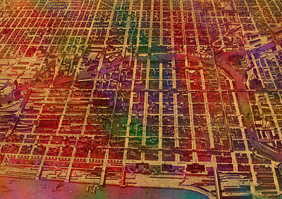 Business Mixed Media - Chicago Illinois Map Business District 1898 Birds Eye View Watercolor Painting On Parchment  by Design Turnpike